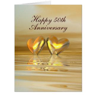 Corazones de oro del aniversario tarjeton