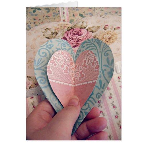 Corazones de papel, tarjeta del amor, poesía, dedi