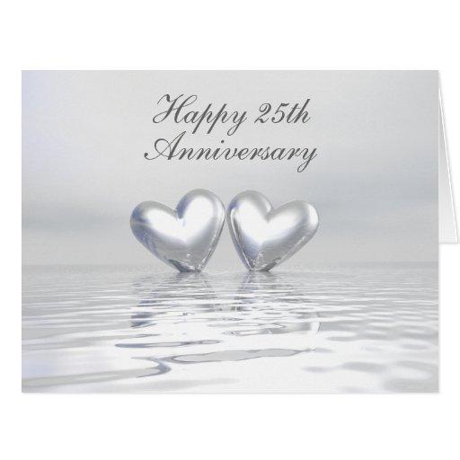 Corazones de plata del aniversario tarjeta