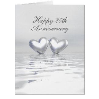 Corazones de plata del aniversario tarjeta de felicitación grande