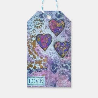 Corazones del amor 3 etiquetas para regalos