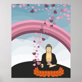 Corazones del amor de Buda Impresiones