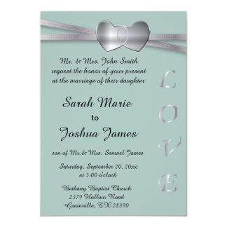 Corazones del amor de la bodas de plata azul y de invitación 12,7 x 17,8 cm