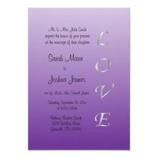 Corazones del amor de la bodas de plata púrpura y invitación 12,7 x 17,8 cm