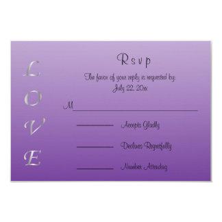 Corazones del amor de la bodas de plata púrpura y invitación 8,9 x 12,7 cm