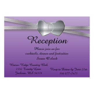 Corazones del amor de la bodas de plata púrpura y tarjetas de visita grandes