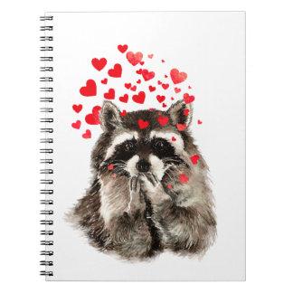 Corazones del amor de los besos del mapache que libro de apuntes con espiral