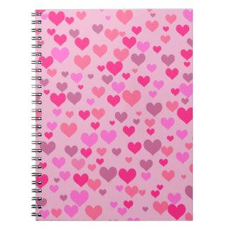 Corazones del amor libros de apuntes con espiral