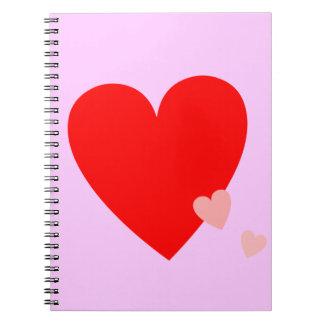 Corazones del amor cuaderno