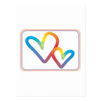 Corazones del arco iris junto para siempre postal