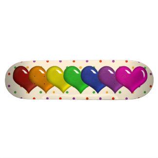 Corazones del arco iris y chicas Skatedeck de los  Monopatín Personalizado