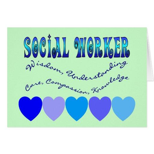 CORAZONES del AZUL del asistente social Tarjeton