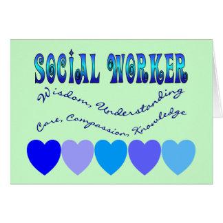 CORAZONES del AZUL del asistente social Tarjeta De Felicitación