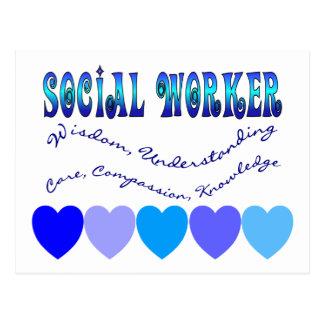 CORAZONES del AZUL del asistente social Tarjetas Postales