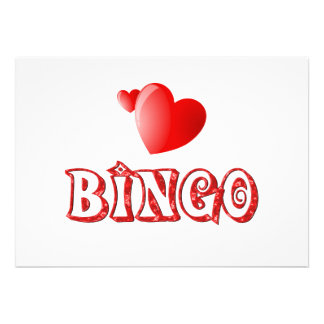 Corazones del bingo invitaciones personales