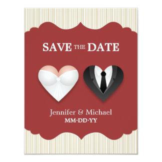 Corazones del boda - reserva divertida la invitación 10,8 x 13,9 cm