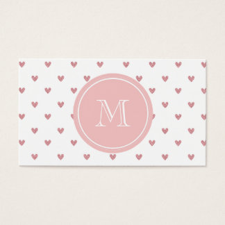 Corazones del brillo del rosa color de rosa de té tarjeta de negocios