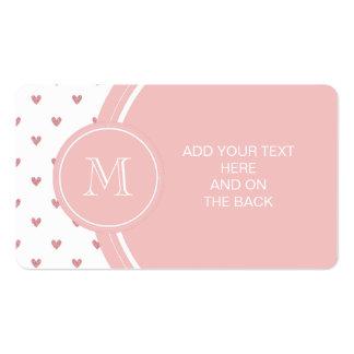 Corazones del brillo del rosa color de rosa de té  tarjeta de visita