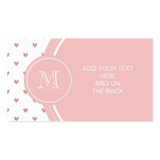 Corazones del brillo del rosa color de rosa de té  tarjeta de negocio
