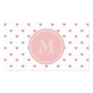 Corazones del brillo del rosa color de rosa de té tarjetas de visita