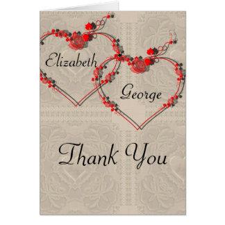 Corazones del capullo de rosa tarjeta de felicitación