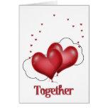 Corazones del globo con los pequeños corazones tarjeta de felicitación