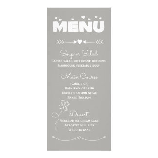 Corazones del menú y banquete de boda grises y