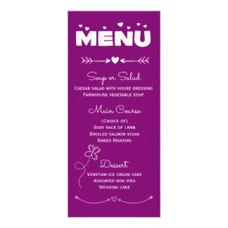 Corazones del menú y boda púrpuras y blancos de la