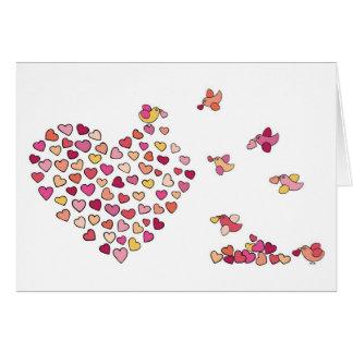 Corazones del n de los pájaros tarjeta de felicitación