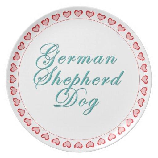 Corazones del perro de pastor alemán platos para fiestas