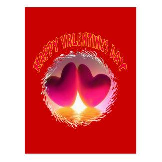 Corazones dobles de las tarjetas del día de San Va Postal