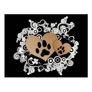 Corazones dobles del amor del mascota de la pata - tarjetas postales