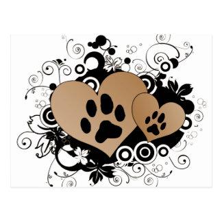 Corazones dobles del amor del mascota de la pata - postal