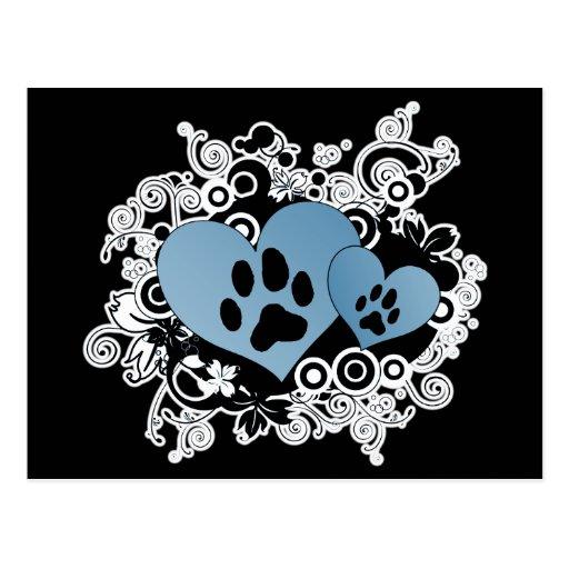 Corazones dobles del amor del mascota de la pata - postales