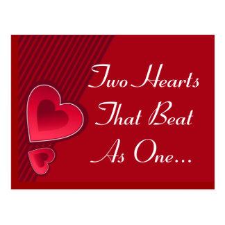 Corazones dobles dos corazones que batieron como u tarjeta postal