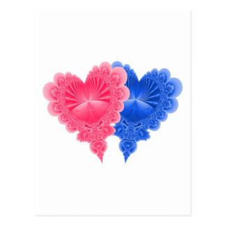 Corazones dobles en azul y rosa postal