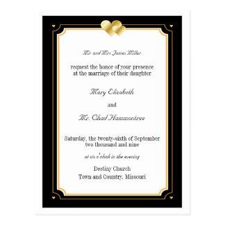 Corazones dobles que casan la invitación postal