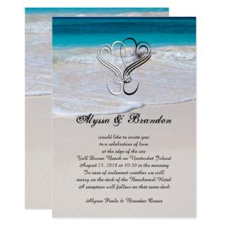 Corazones e invitaciones de encargo del boda de la