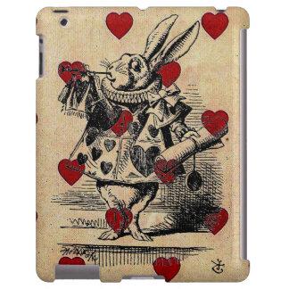 Corazones elegantes Alicia del vintage en conejo d Funda Para iPad