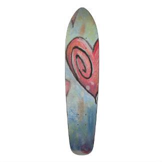 Corazones en colores pastel enrrollados monopatín 20 cm