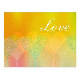 Corazones en colores pastel tarjeta postal