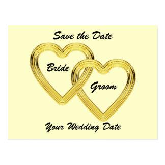 Corazones entrelazados novia y novio del oro postal
