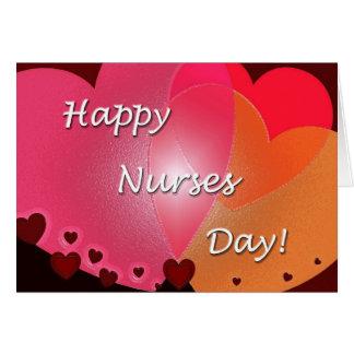 Corazones felices del día de las enfermeras tarjeta de felicitación