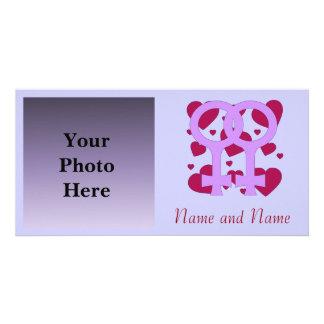 Corazones lesbianos de la boda tarjetas personales con fotos