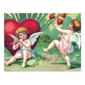 Corazones lindos retros de la tarjeta del día de postal