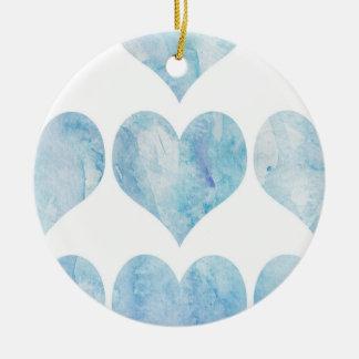 Corazones llenados nube adorno navideño redondo de cerámica