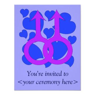 Corazones masculinos gay de la boda invitación 10,8 x 13,9 cm