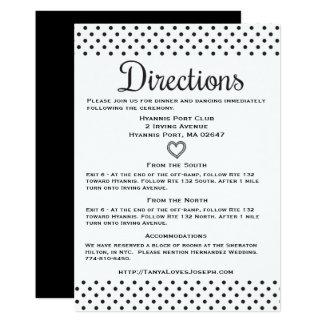 Corazones negros y blancos de los lunares de los invitación 12,7 x 17,8 cm