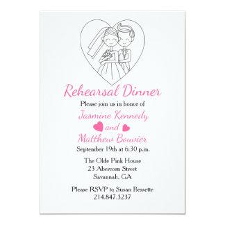 Corazones negros y rosados de la novia y del novio invitación 12,7 x 17,8 cm