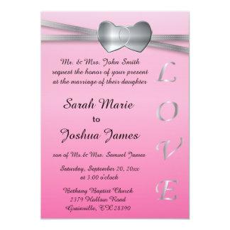 Corazones preciosos del amor de la bodas de plata invitación 12,7 x 17,8 cm
